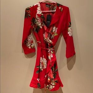 Red floral mini wrap dress